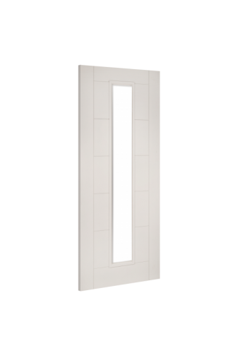 Internal Door White Primed Seville with Clear Glass and 18mm lippings