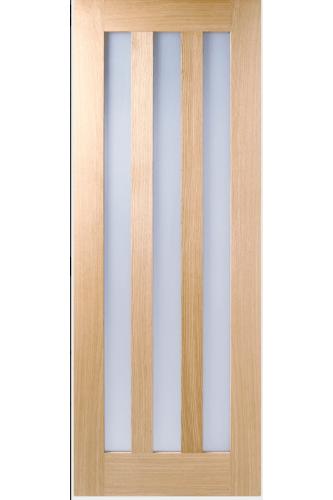 Internal Door Oak Utah with Obscure Glass Prefinished
