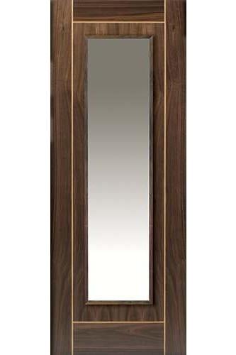 Internal Door Walnut Valcor with Oak Inlay Clear Glass Prefinished - Standard Core