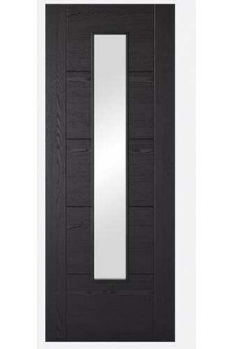 Internal Door Black Laminate Vancouver with Clear Glass Prefinished