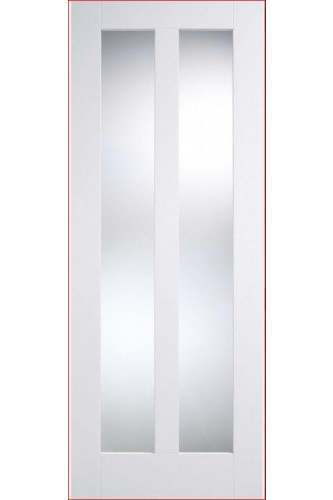 Internal Door Solid White Primed Vermont with Clear Glass  - DISCONTINUED
