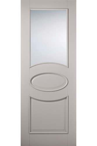 Internal Door Grey Versailles Oval Primed Plus with Clear Glass