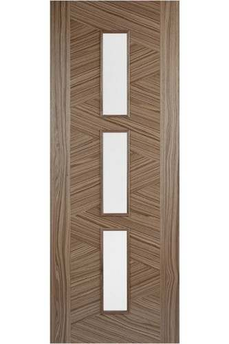 Internal Door Walnut Zeus with Clear Glass Prefinished SPECIAL OFFER