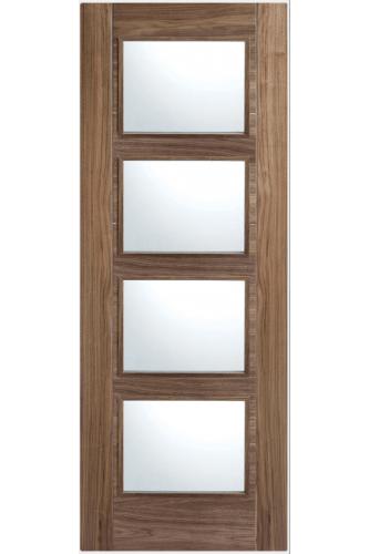 Internal Door Walnut Vancouver Glazed 4 Light Prefinished
