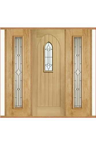 External Door Set Oak Westminster with Two Universal Lead Sidelights and Sidelight Frame Kit Untreated