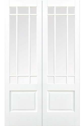 Internal Door Pair White Primed Downham with Clear Bevelled Glass
