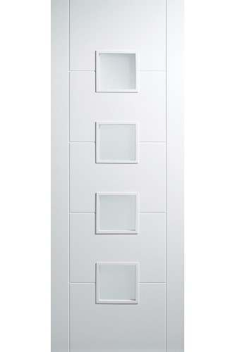 Internal Semi Solid Core Door White Primed Florida with Obscure Glass