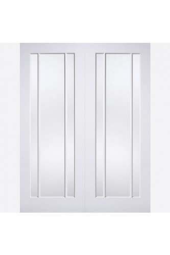 Internal Door Pair White Lincoln Clear Glass