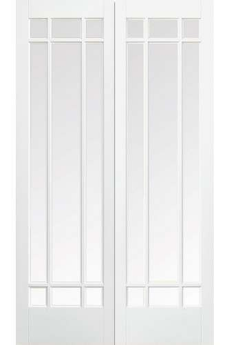 Internal Door Pair White Primed Manhattan with Clear Bevelled Glass