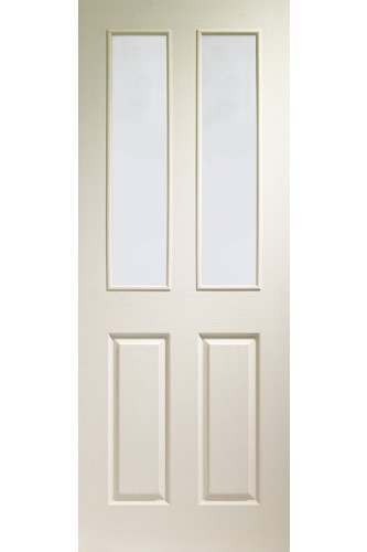 XL Internal Door White Moulded Victorian with Clear Glass