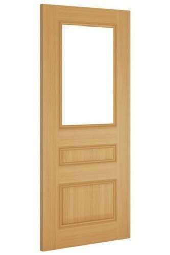 Internal Door Oak Windsor with Clear Bevelled Glass Prefinished