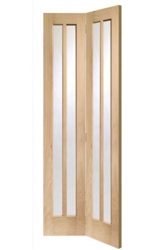 Internal Door Oak Worcester Bi Fold with Clear Glass Untreated