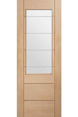 Internal Door Oak Palermo 2xg With Clear Etched Glass