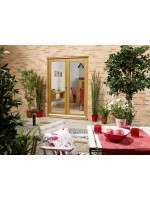 External 4ft Oak French Door Set Nuvu Pattern 20 Prefinished