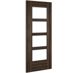 Internal Fire Door Abachi Wood Calgary Clear Glass Prefinished angled