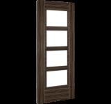 Internal Door Abachi Wood Calgary Glazed Prefinished angled