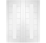 Internal Door Pair White Primed Palermo 1 Light Clear Glass