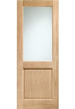 External Door Oak Double Glazed 2XG with Clear Glass Dowelled