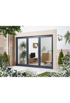 External Aluvu Grey Folding/Sliding Aluminium Core Doorset Prefinished 8FT - DISCONTINUED