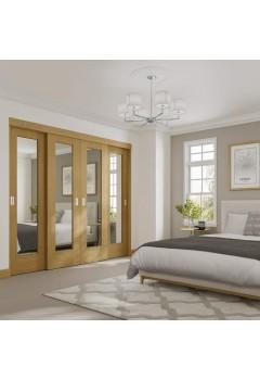 Internal Oak Sliding Wardrobe Door Frame - 2pcs (includes hardware kit)  - Doors sold Seperatley