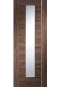 Internal Door Walnut Forli with Clear Glass with aluminium inlays Pre Finished