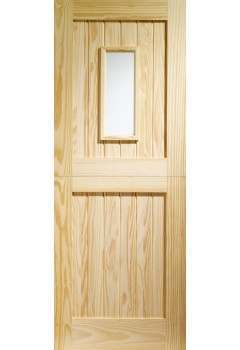XL External Door Pine Stable 1 Light with Clear Glass - OUT OF STOCK DUE EST EARLY DECEMBER
