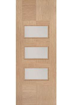 Internal Door Oak Apollo with Clear Glass Prefinished