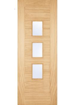 External Door Part L Compliant Oak Arta with Obscure Glass Untreated
