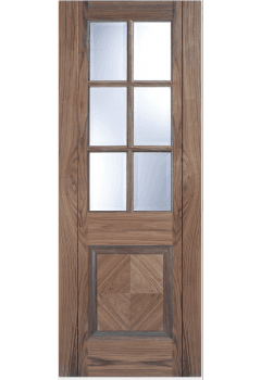 Internal Door Walnut Barcelona 6 Light Clear Bevelled Glass Prefinished Promo while stock lasts