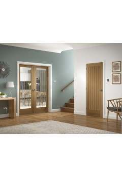 Internal Rebated Door Pair Oak Suffolk with Clear Etched Glass Untreated