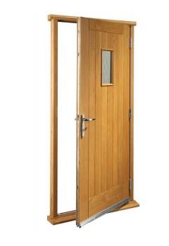 """External Oak Chancery Timber Doorset Prefinished medium light oak (33"""")"""