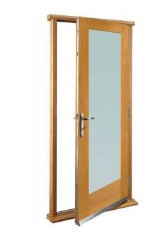 """External Oak Pattern 10 with Clear Glass Timber Doorset Prefinished Medium Light Oak (33"""")"""