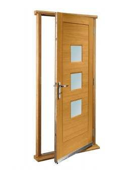 "External Oak Turin with Obscure Glass Timber Doorset Prefinished medium light oak (33"")"