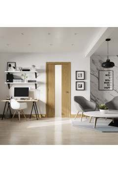 Internal Door Oak and White Pescara With Obscure Glass Prefinished Discontinued CHECK STOCK LEVELS