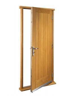"""External Oak Suffolk Timber Doorset Prefinished medium light oak (33"""")"""