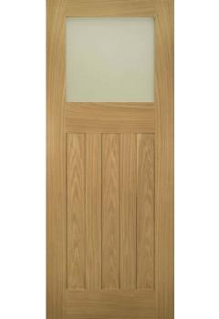 Internal Door Oak Cambridge 1930 With Obscure Glass Untreated