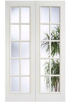 Internal Door Pair White Primed Moulded SA 10 Light Glazed LPD