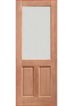 External Door Hardwood 2XG with Clear Glass Dowelled & Untreated