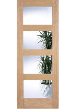 Internal Door Oak Contemporary shaker 4 Light with Clear Glass Untreated LPD - 18mm solid oak lippings