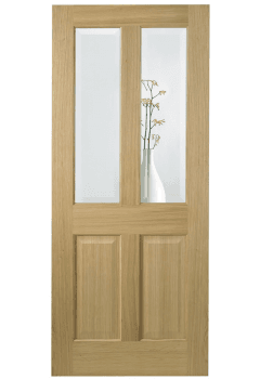 Internal Door Oak Richmond with Clear Bevelled Glass with non raised moulding Prefinished