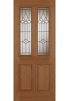 External Door Oak Derby Chameleon with Leaded Triple Glazed Glass Untreated