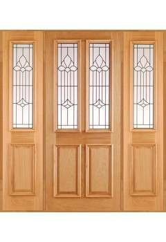 External Door Oak Derby Chameleon RM1S with Derby Leaded Sidelight and Sidelight Frame Kit