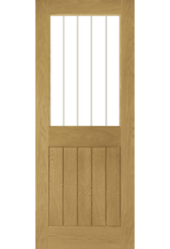 Internal Door Oak Ely 1 Light with Clear Inlaid Glass Untreated