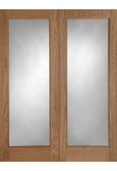 External Door Pair Oak Pattern 20 with Clear Double Glazed units Untreated