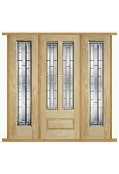 External Door Set Oak Granada Lead Double Glazed with Two sidelights and Sidelight Frame Kit Untreated