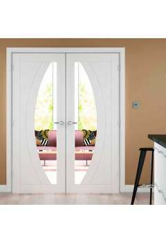 Internal Door Pair White Primed Salerno with Clear Glass