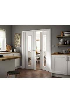 Internal Rebated Door Pair White Fully Painted Finished Parelo Black Grooved Clear Glass