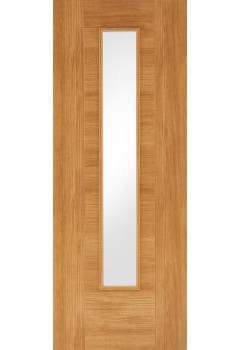 Internal Door Oak Laminate Ottawa with Clear Glass Prefinished