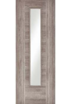 Internal Door Light Grey Laminate Ottawa with Clear Glass Prefinished - Discontinued
