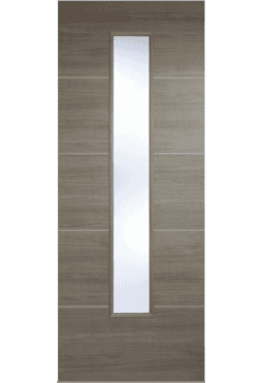 Internal Door Light Grey Laminate Santandor with Clear Glass Prefinished